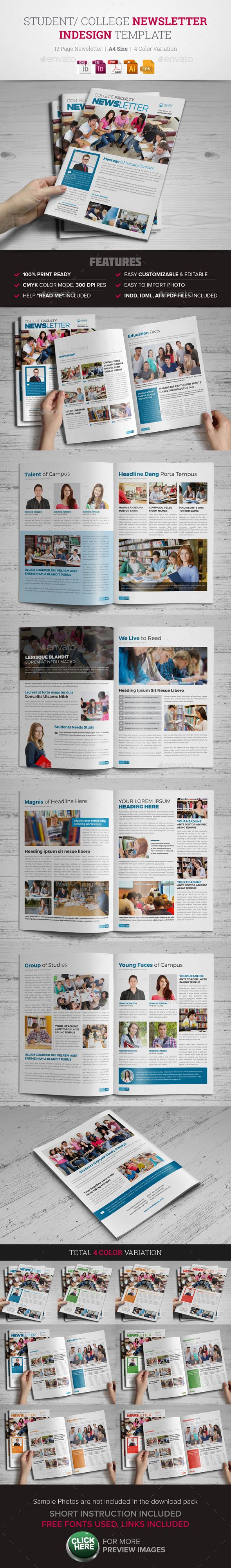 Student College Newsletter Indesign Template  - Newsletters Print Templates Download here : https://graphicriver.net/item/student-college-newsletter-indesign-template-/12087210?s_rank=159&ref=Al-fatih