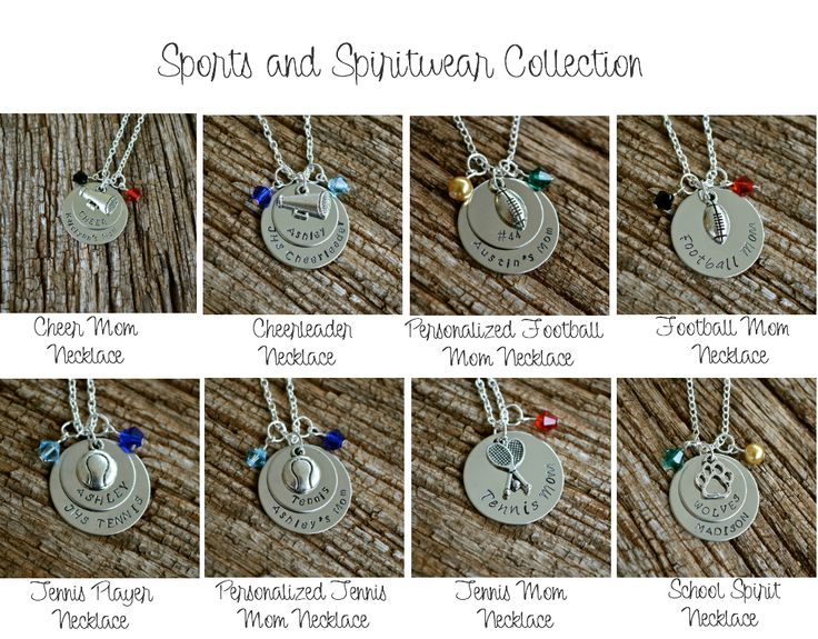 This is the LARGEST collection at Designing Tomorrow -- the Sports and Spirit wear Metal Stamped Necklaces! Check it out!