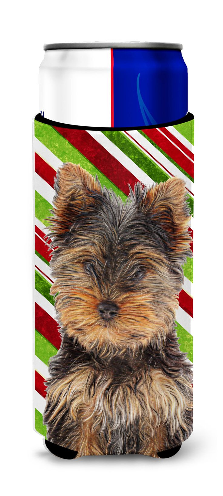 Candy Cane Holiday Christmas Yorkie Puppy / Yorkshire Terrier Ultra Beverage Insulators for slim cans KJ1174MUK
