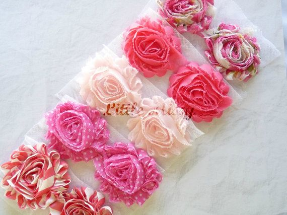 10 Shabby CHIFFON FLOWERS Pink Chiffon by LittleMissySupplies