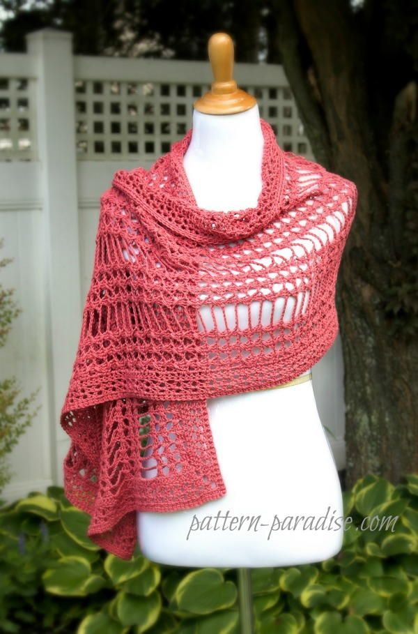 Summer Lace Crochet Wrap Pattern/ pretty design & colour/ easy/ FREE CROCHET pattern