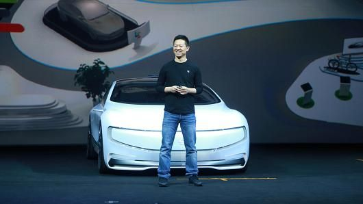 Jia Yueting introduces the all-electric battery 'concept' car LeSEE on April 20, 2016 in Beijing, China.
