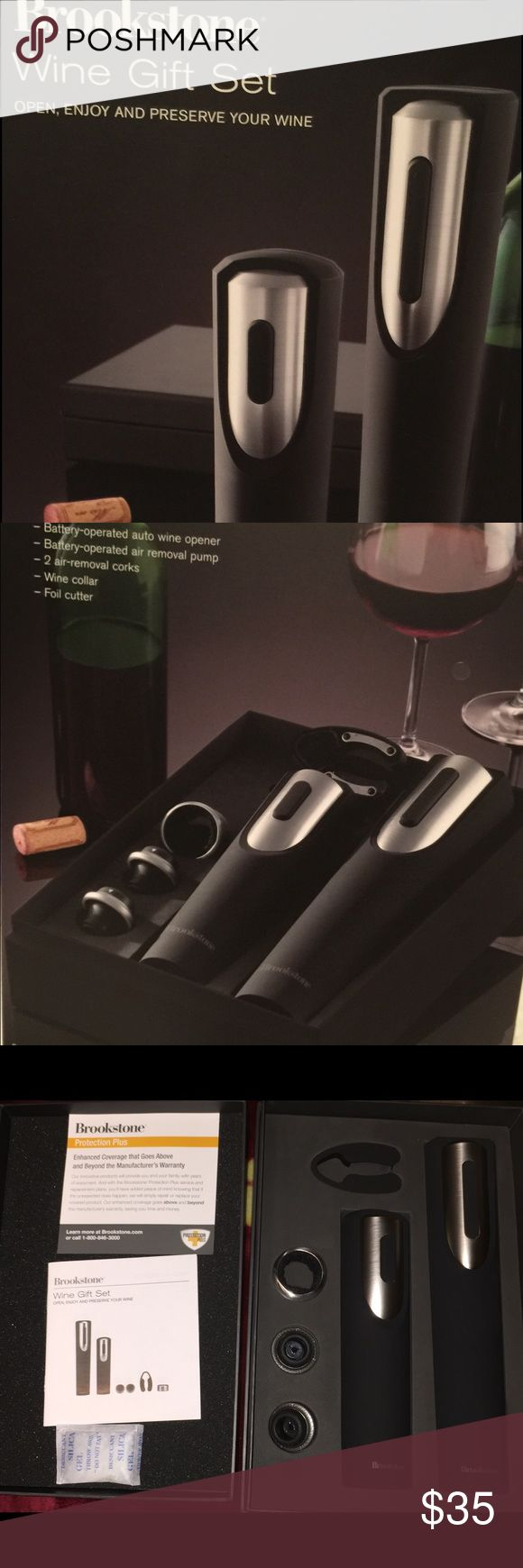 Brookstone Wine Opener and Preserver Gift Set Wine gift set includes everything your favorite wine needs, the automatic opener removes cork with a press of a button, if at the end of your dinner or gathering if theres any wine left in the bottle, use the wine preserver to remove air and reseal the bottle to prevent oxidation. Brookstone Other