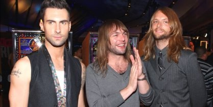 Maroon 5's Adam Levine puts on his poker face while Michael Madden and James Valentine call his bluff.: Poker Face, Photo, Valentines Call, James Valentines