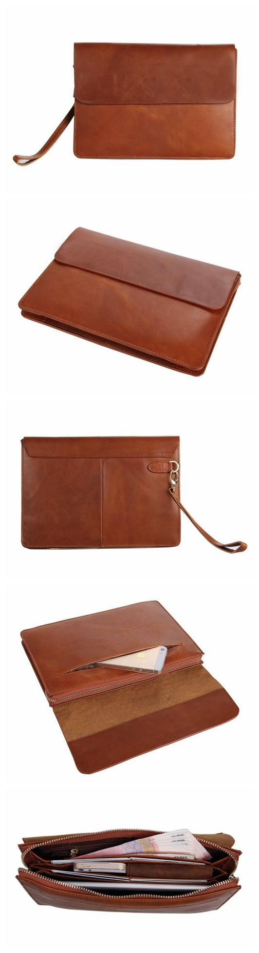 Handmade Genuine Leather Men Clutch Bag, Leather Wallet