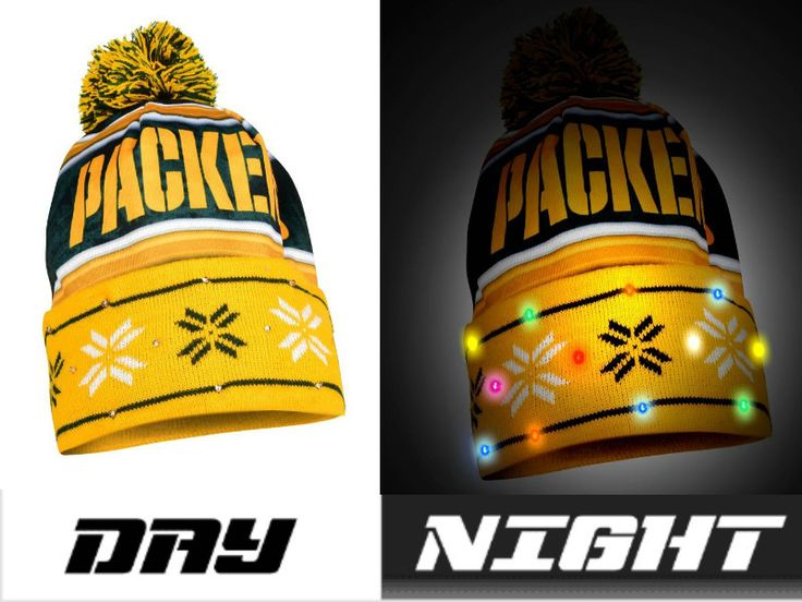 Green Bay Packers NFL Wordmark Light Up Printed Beanie