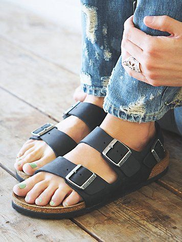 Birkenstock Milano at Free People Clothing Boutique | Size 36, narrow, black leather