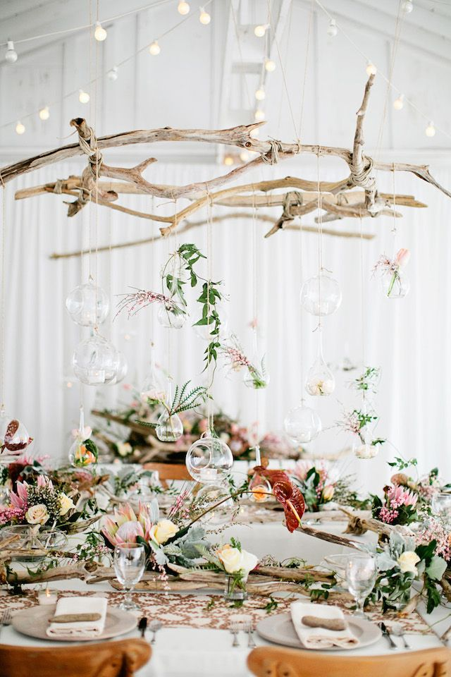 For a porch .. Driftwood chandelier | Kristyn Hogan Photography | see more on: http://burnettsboards.com/2014/09/rustic-refined-driftwood-wedding-inspiration/