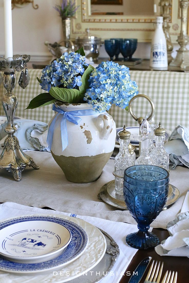 Country French Blue And White Tablescape Set The TABLE