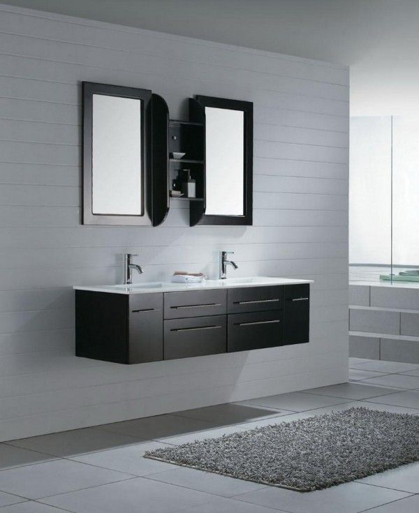 Modern simple bathroom, black and white.