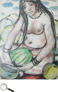 Krishnaji Howlaji Ara (1914 - 1985), Untitled (Semi-Nude Watermelon Seller), watercolour on paper