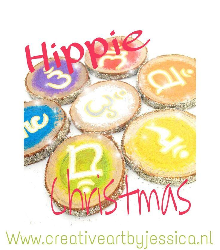 Hippie Christmas! Hippie kerstballen 5-8cm kerstdecoratie bij www.creativeartbyjessica.nl