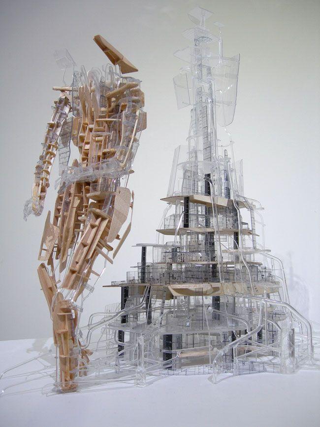 Clément Bagot, Marcheur, 2013, bois, plastiques, plexiglas, résine www.evahober.com