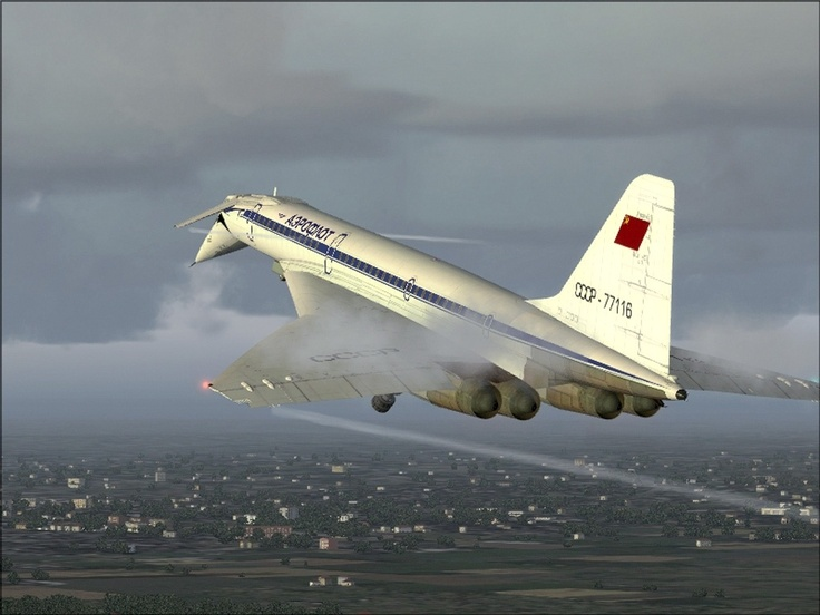"Tupolev Tu-144. The Tupolev Tu-144 (NATO name: ""Charger'"") was the world's first supersonic transport aircraft (SST). The prototype first flew on 31 December 1968 near Moscow, two months before the first flight of the Concorde. The Tu-144 first broke the sound barrier on 5 June 1969, and on 15 July 1969 became the first commercial transport to exceed Mach 2."