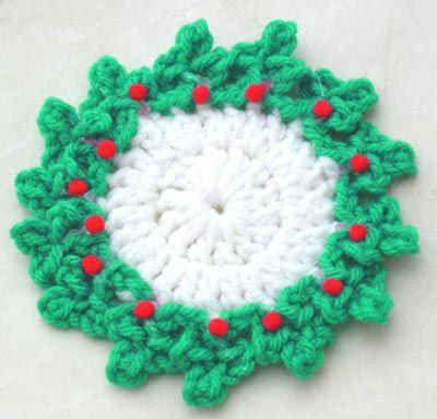 Free Crochet Santa Claus Coaster Pattern : Holly Coaster - free crochet pattern Christmas Pinterest