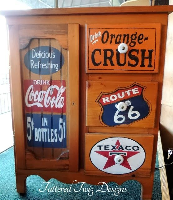 Marvelous Coca Cola, Orange Crush, Route 66 And Texaco   Old Sign Inspired Cabinet  Makeover By Tattered Twig Designs   Featured On Furniture Flippinu0027.