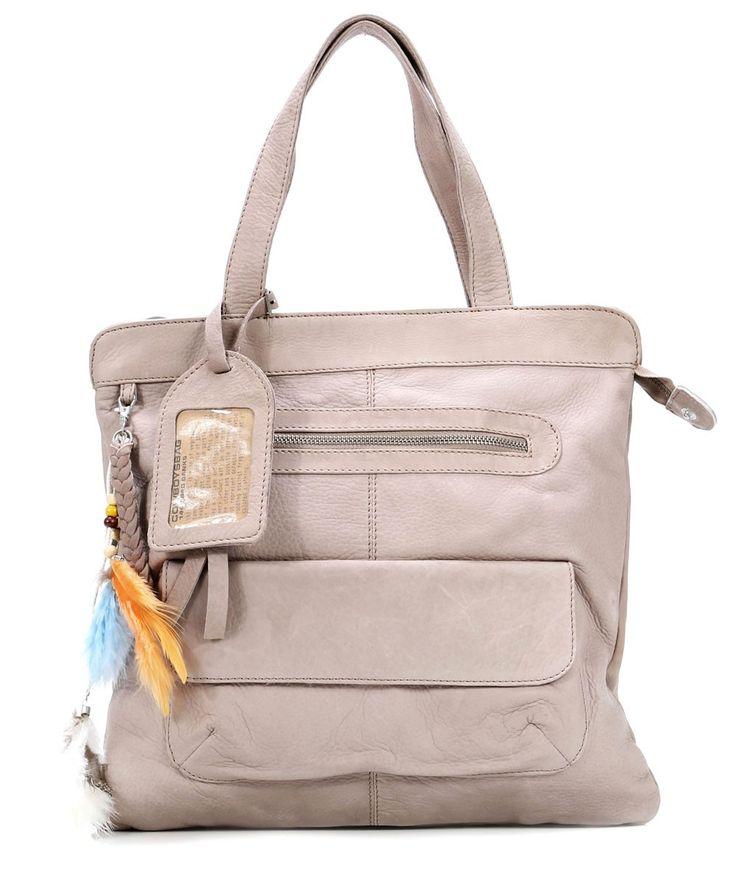 Banks Handtasche Leder taupe 35 cm