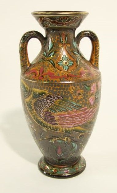 Zsolnay Pecs vase painted and gilded stylised floral, bird and insect detail, 25cm tall 17/L800L