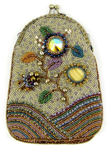 """""""Jacobean Bead Embroidery Bag"""", The front panel is worked in bead embroidery on preprinted nonwoven stitching base; the backing and gusset are leather. Materials: Crystal rivoli, mother-of-pearl teardrop, freshwater pearls, crystal bicones, faceted firepolish, Japanese and Czech seed beads, Japanese magatamas, leather, sueded lining, by Ann Benson."""