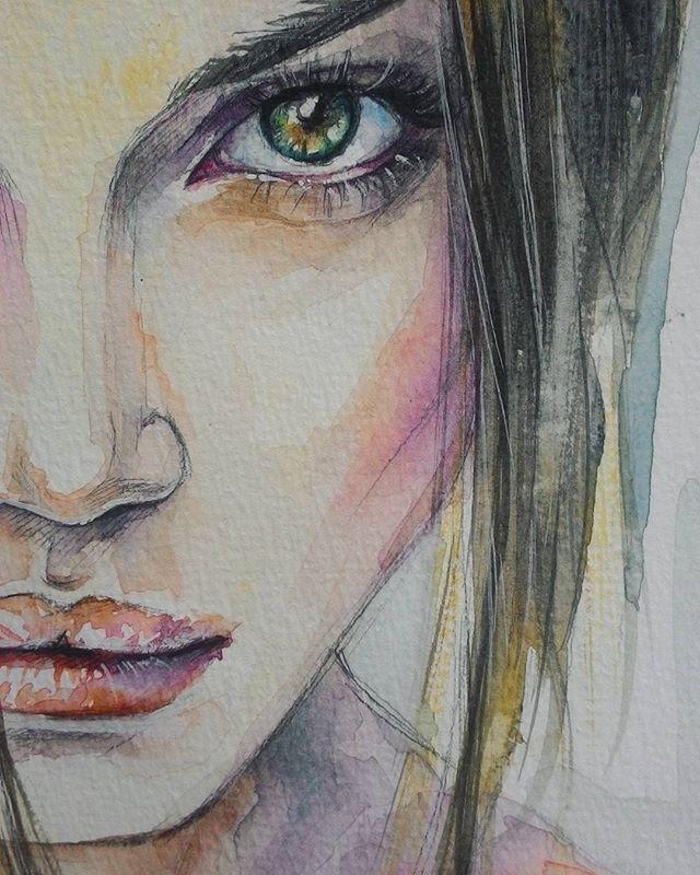 СпойлерВ новом видео ;) #рисунок #акварель #живопись #глаза #зеленыеглаза #watercolor #painting #process #portrait #eyes #greeneyes A part of my new video ;)