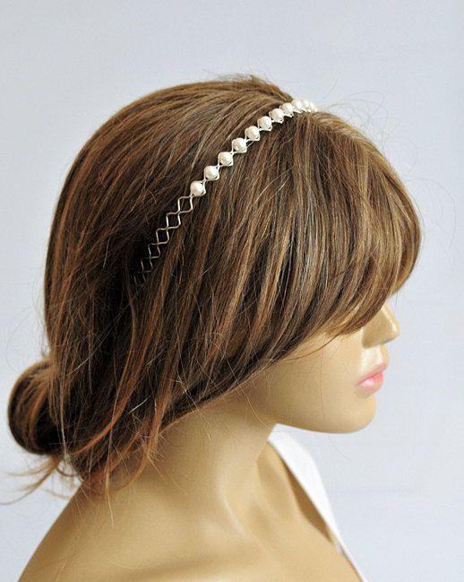 wedding hairband pearl headband Bridal Headpiece by selenayy