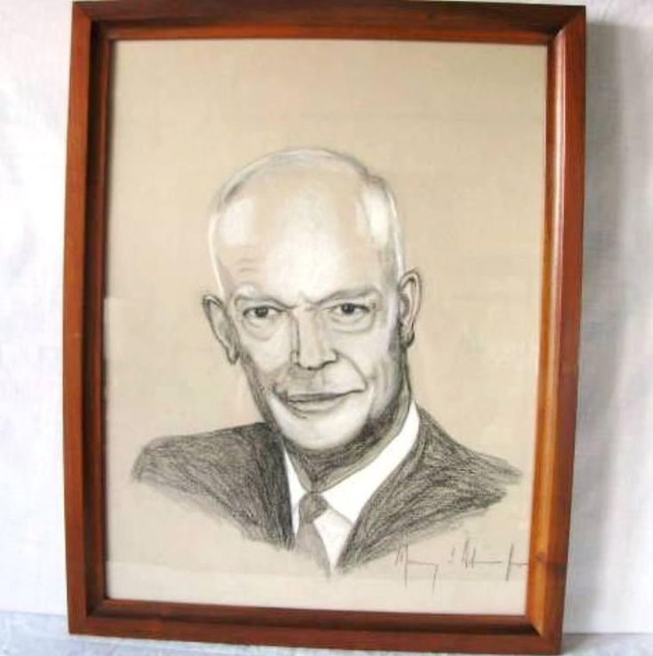 Vintage Art Signed Murray L. Adamsson Jr. Watercolor Charcoal Painting Dwight Eisenhower Ike Portrait 4268