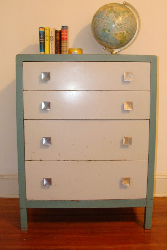 Vintage All Metal Chest 4 Drawer Medical Cabinet Dresser Original Bohemian Eclectic By Studio 180