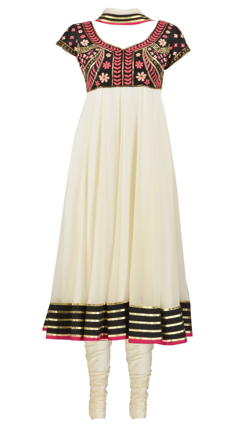 Black and offwhite short-sleeve georgette suit with gold gota, black and pink detailing on border by Arpita Mehta. Shop at https://www.perniaspopupshop.com/whats-new/arpita-mehta-3116