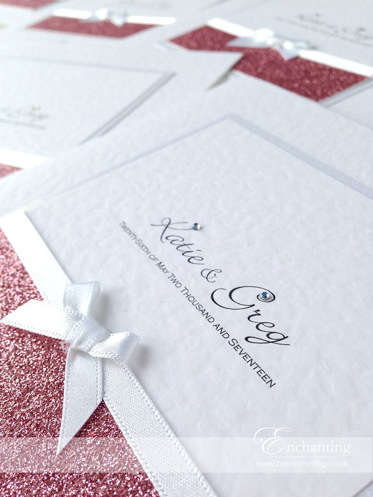 Pink Sparkly Wedding Invitations | Build Your Own Design   Classic Fold  Invitation | Featuring Dusky