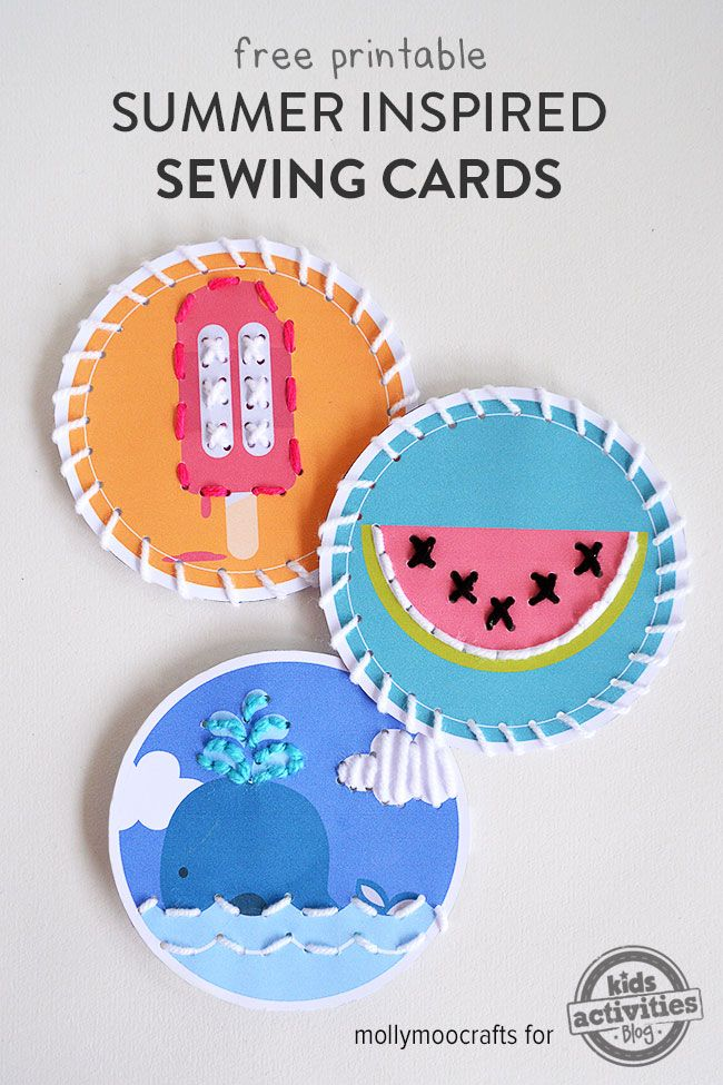 A quick download, paper punch, thread and a kid-safe needle is all it takes to enjoy this fun activity. (These cards are great for fine motor skills, hand-eye coordination, and concentration.)