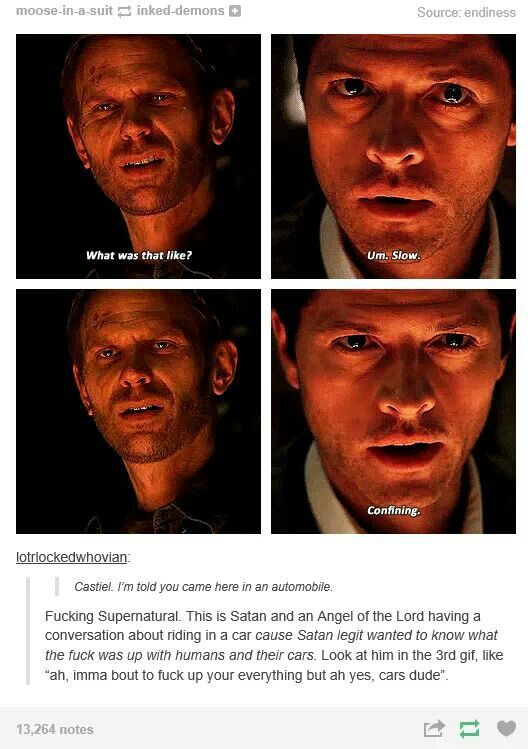 """I love Cas' face in the 4th. He's like """"No I'm not mocking your being in a cage for past forever."""""""