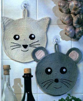 Прихватки - Кошка и мышка   Вязаные прихватки, Вязаные ...