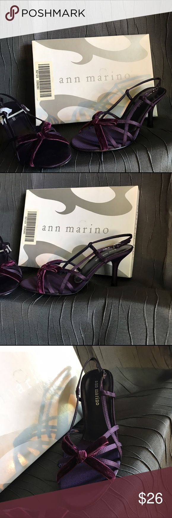 Deep Purple Strappy Heels! NIB, size 6, Ann Marino deep purple/plum strappy heels each adorned with a purple velvet bow, upper is made of fabric & lower portion is leather. Very nice!! Ann Marino Shoes Heels