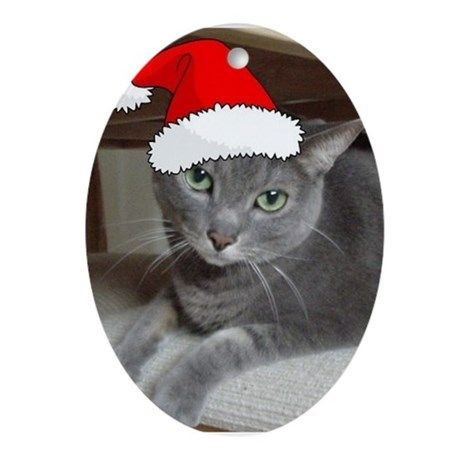 Christmas Russian Blue Cat Ornament (Oval) on CafePress.com