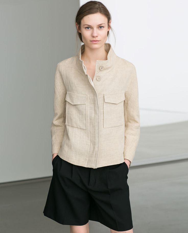 LINEN BLAZER WITH FLAP POCKETS from Zara
