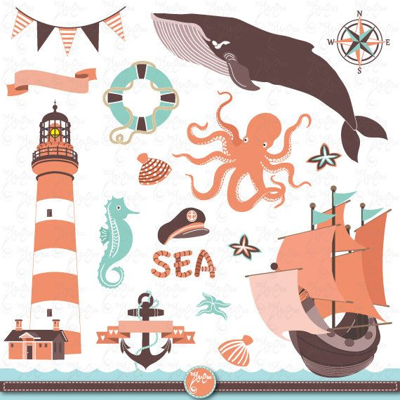 """Nautical clip art """"NAUTICAL"""" clipart pack, sea clipart, octopus, sailboats, lighthouse, whale,anchor,baby shower,scrapbook,Invitations Nt004"""