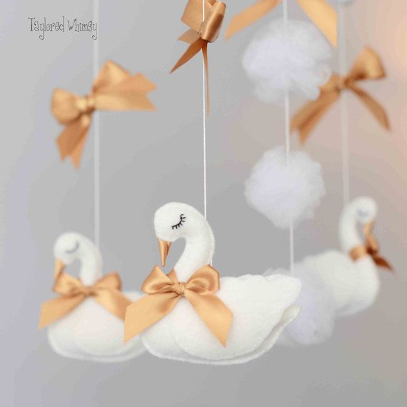 Swan Mobile Custom Mobile ships in 4-6 weeks by TayloredWhimsy