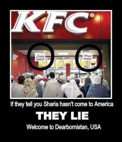 Michigan, the home of the US Muslim population. One state down...everyone should BAN KFC for allowing this. KFC is running Halal trials in certain states or areas within the USA to see if it would segway into Muslim customers. This is happening in Texas too.