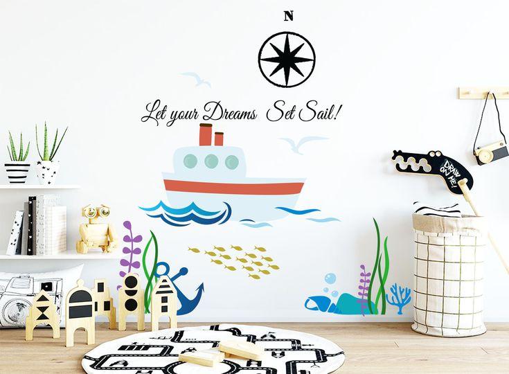 Ocean wall decal for nursery-Nautical wall sticker for kids-Nursery wall decal-Kids room decals-Kids playroom-Ship sticker-Sea decal by FantasticWallArtShop on Etsy