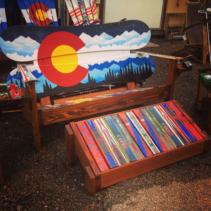 New CO mountain mural snowboard bench with double ottoman. Come in for our summer sale and get yourself a great new setup to sit and relax in this weekend!!  #coloradoflag #coloradosprings #snowboardlife #manitouincline #coloradogram #backyard #bench #upgrade #handpainted #durable #handcrafted #madeintheusa #repurpose #upcycle #upgrade #recycledart