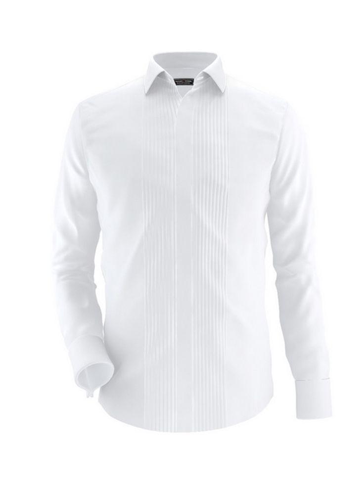 Camasa alba Exclusive Brands, cu guler clasic, lejera si de efect datorita pliurilor. Fii in noile tendinte cu aceasta camasa!
