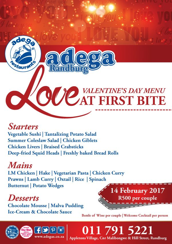 Adega Randburg Welcomes you to our Valentines Buffet for R500 per couple. We include a Bottle of wine, Welcome Cocktails, A Buffett that features Oxtail, Prawns, Chicken, Sushi and much more. Starters, Mains, and Desserts all for just R500 per couple. Come Celebrate LOVE...Call 011 791 5221 for YOUR reservation <3..You can bring your loved ones be it your mum, your dad, your kids, your sister, your Special friend..your parents, whoever your valentine may be we have a special place for you <3