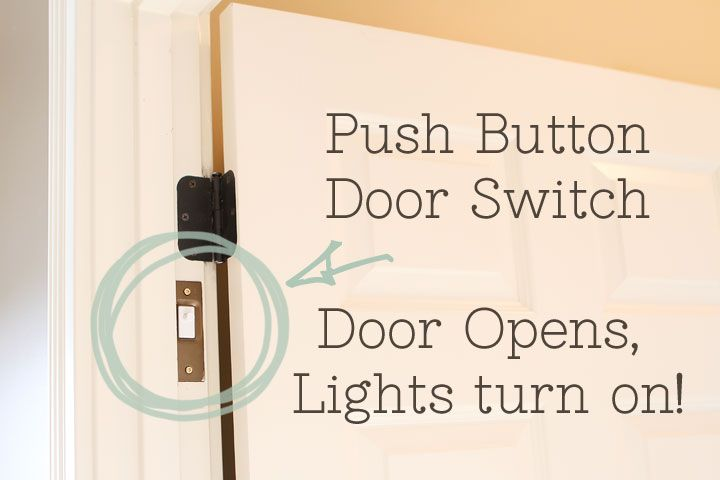 a push button door switch that you can get at Home Depot. It's installed in the hinge and when the door closes, it pushes a button to turn off the light. When the door opens, the button is released and the light comes on! Love it!! by kevinandamanda.com