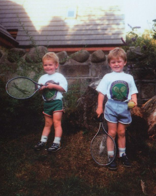 1991: Andy Murray, left, with his first racquet and brother Jamie.  Andy started playing at age 5 and turned pro at age 16