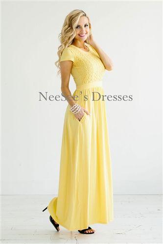 Yellow Lace Maxi Modest Dress Bridesmaids Dress, Church Dresses, dresses for…