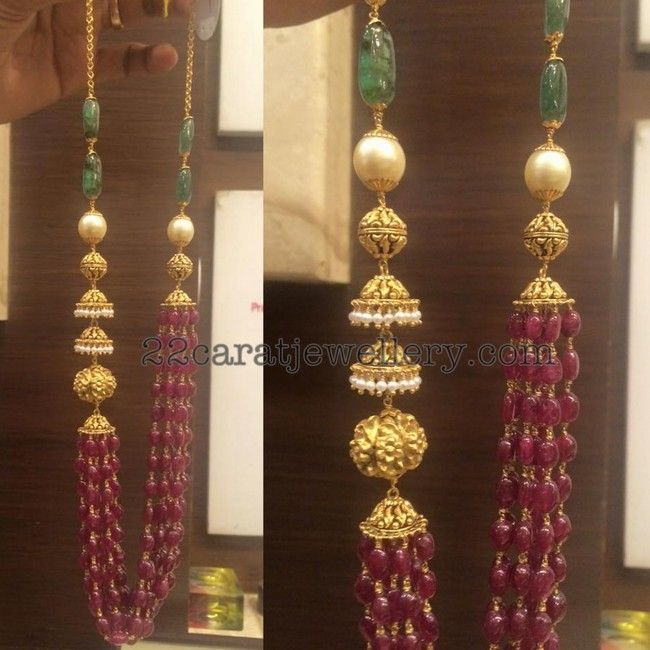 Jhumka Embellished Beads Set - Jewellery Designs