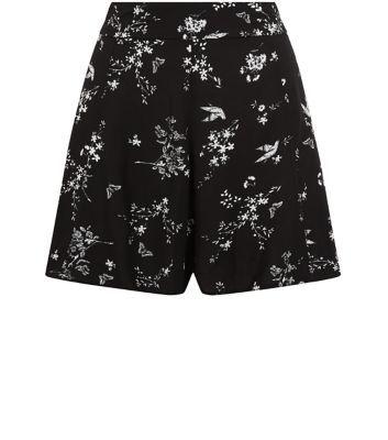 Petite Black Floral Bird Print Shorts