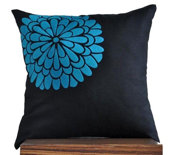 Flock Flower Throw Pillow Cover