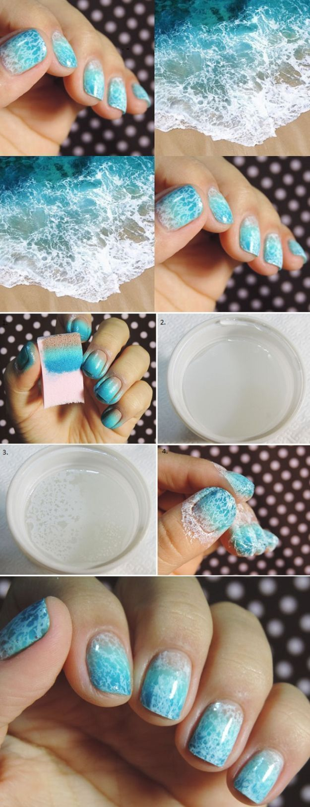 33 Cool Nail Art Ideas – Blue and White Ocean Saran Wrap Manicure Nail Design Tu…