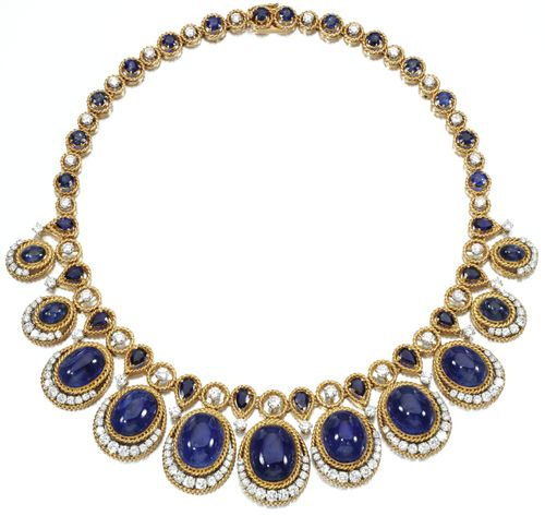 Sapphire and diamond necklace by Van Cleef & Arpels. Designed as an alternating line of brilliant-cut diamonds and circular-cut and pear-shaped sapphires, suspending eleven graduated drops set with cabochon sapphires, highlighted with brilliant-cut diamonds within gold corded wire mounts, mounted in platinum and gold, length approximately 410mm, signed Van Cleef & Arpels and numbered, French assay and maker's marks, case.